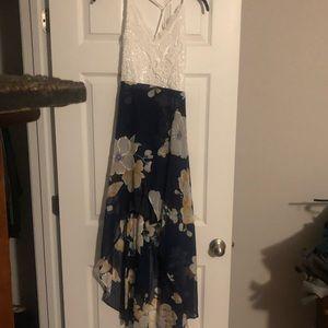 White & Blue Floral Maxi Dress